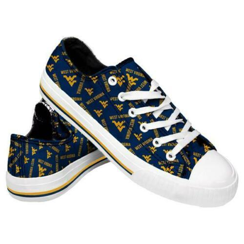West Virginia Mountaineers Shoes - Womens Low Top Repeat Print Canvas Shoe