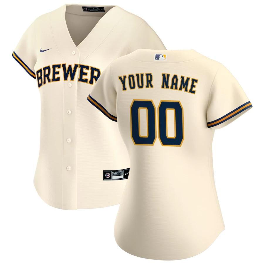 Milwaukee Brewers Jersey - Custom Name and Number - Women's Cream