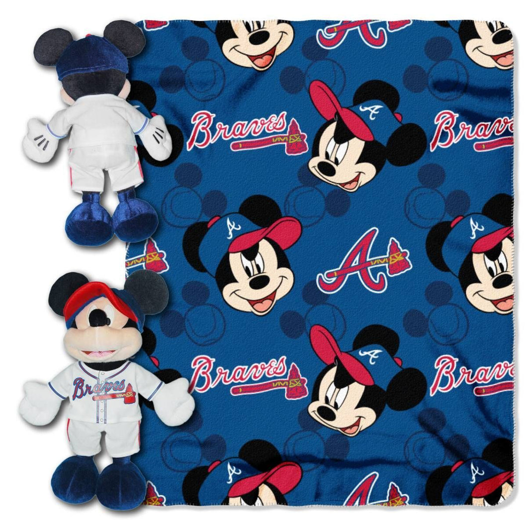 Atlanta Braves Blanket - Mickey Hugger and Fleece Throw Set