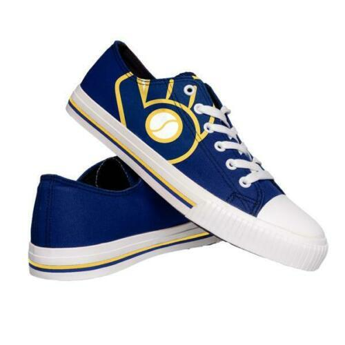 Milwaukee Brewers Shoes - Men's Low Top Canvas Logo Shoe