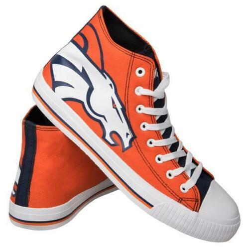 Denver Broncos Shoes - Men's High Top Canvas Big Logo Shoes