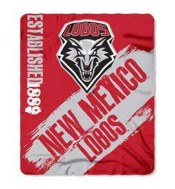 "New Mexico Lobos Blanket - ""Painted""  Fleece Throw (50"" x 60"")"