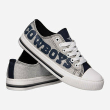 Load image into Gallery viewer, Dallas Cowboys Shoes - Womens Glitter Low Top Canvas Shoe