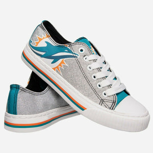 Miami Dolphins Shoes - Womens Glitter Low Top Canvas Shoe