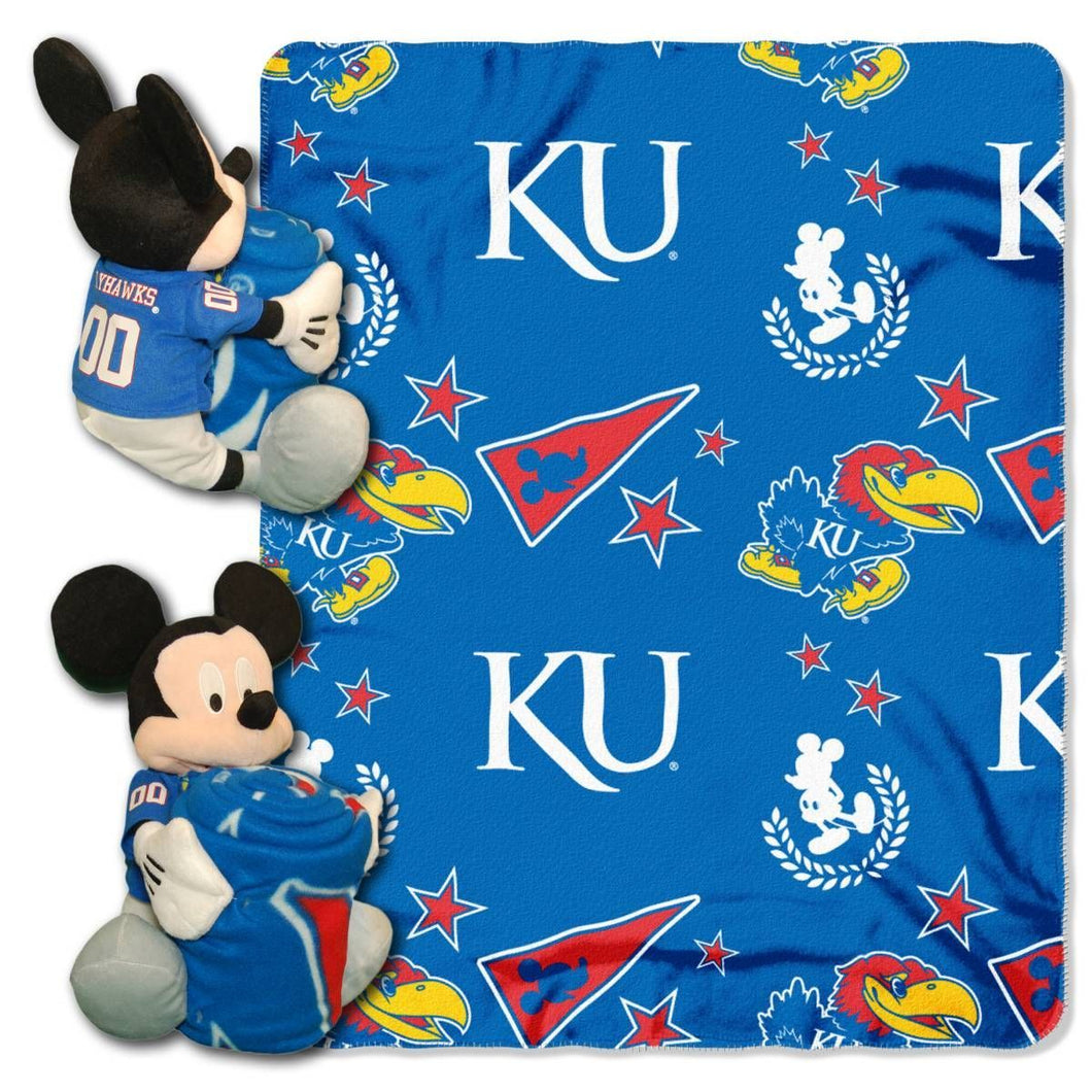 Kansas Jayhawks Blanket - Mickey Hugger and Fleece Throw Set