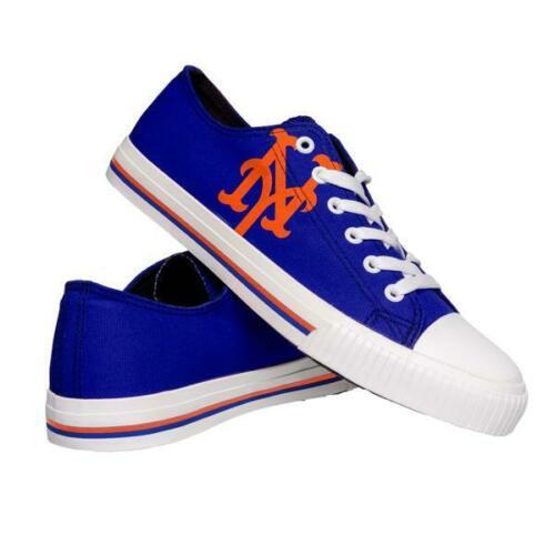 New York Mets Shoes - Men's Low Top Canvas Logo Shoe