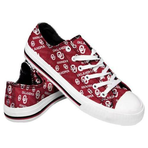 Oklahoma Sooners Shoes - Womens Low Top Repeat Print Canvas Shoe