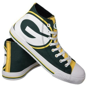 Green Bay Packers Shoes - Men's High Top Canvas Big Logo Shoes