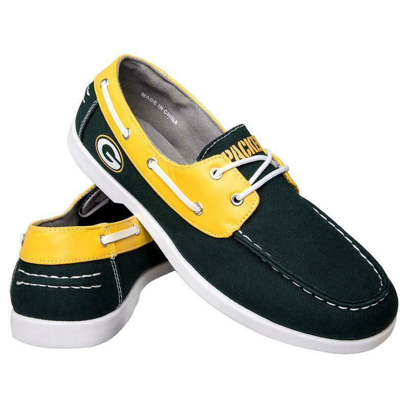 Green Bay Packers Shoes - Men's Side Logo Canvas Deck Shoes