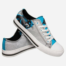 Load image into Gallery viewer, Carolina Panthers Shoes - Womens Glitter Low Top Canvas Shoe