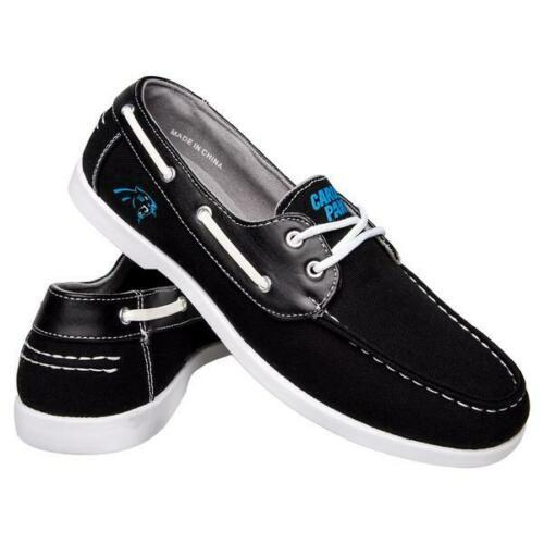 Carolina Panthers Shoes - Men's Side Logo Canvas Deck Shoes