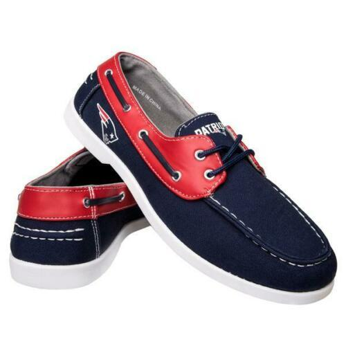 New England Patriots Shoes - Men's Side Logo Canvas Deck Shoes