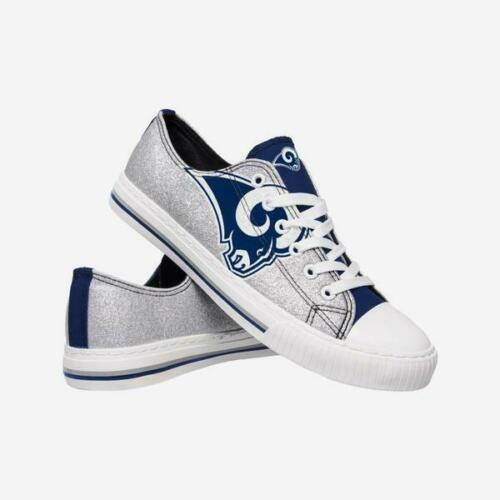Los Angeles Rams Shoes - Womens Glitter Low Top Canvas Shoe