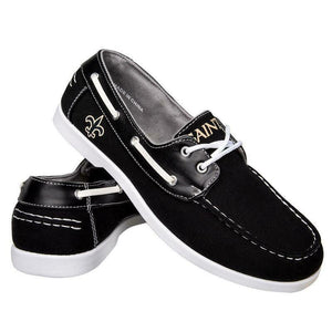 New Orleans Saints Shoes - Men's Side Logo Canvas Deck Shoes