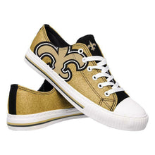 Load image into Gallery viewer, New Orleans Saints Shoes - Womens Glitter Low Top Canvas Shoe
