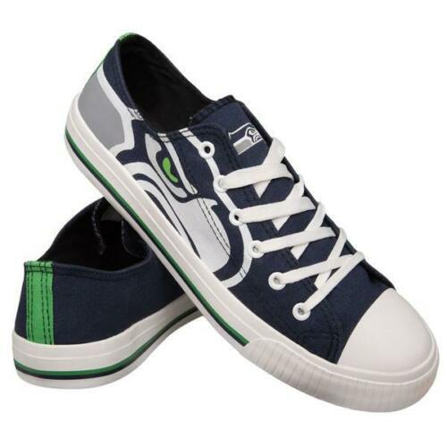 Seattle Seahawks Shoes - Men's Low Top Canvas Logo Shoe