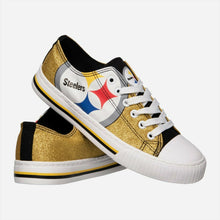 Load image into Gallery viewer, Pittsburgh Steelers Shoes - Womens Glitter Low Top Canvas Shoe