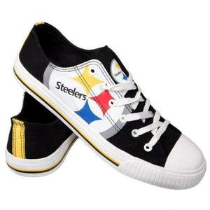 Pittsburgh Steelers Shoes - Men's Low Top Canvas Logo Shoe