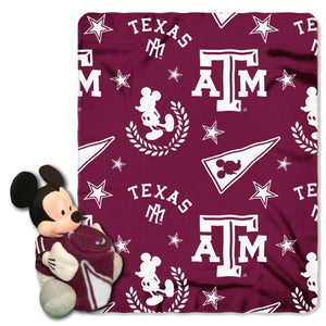 Texas A&M Blanket - Mickey Hugger and Fleece Throw Set