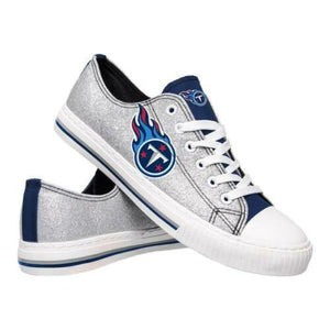 Tennessee Titans Shoes - Womens Glitter Low Top Canvas Shoe