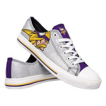 Load image into Gallery viewer, Minnesota Vikings Shoes - Womens Glitter Low Top Canvas Shoe