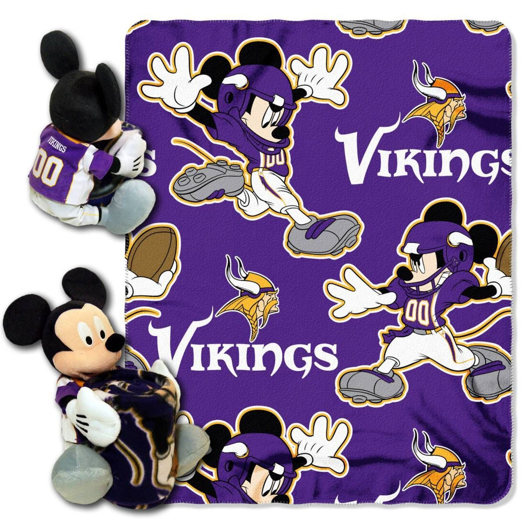Minnesota Vikings Blanket - Mickey Hugger and Fleece Throw Set