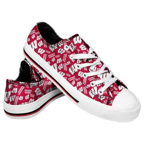 Wisconsin Badgers Shoes - Womens Low Top Repeat Print Canvas Shoe