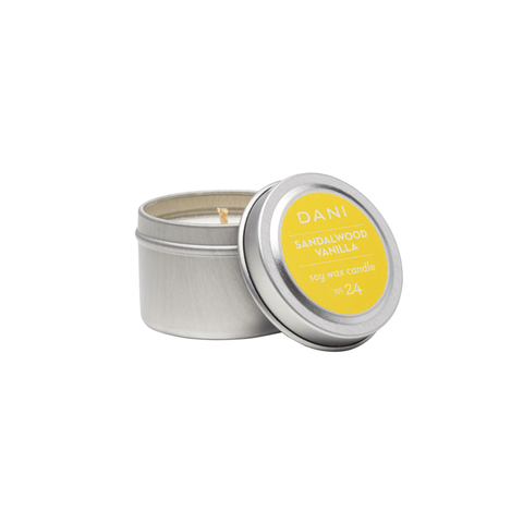 DANI Sandalwood Vanilla Scented Soy Candle Tin 6 oz