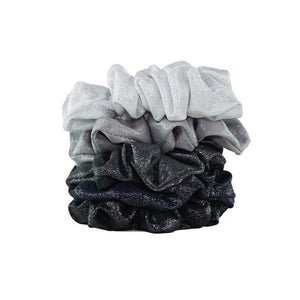 KITSCH Metallic Scrunchies - Black and Gray