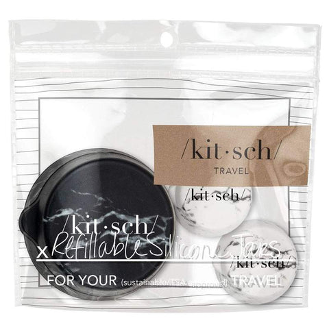 KITSCH Refillable Silicone Jars 3pc -Black & White Marble