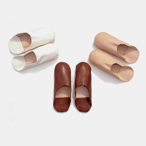 Neutral Palette Leather Moroccan Babouches Slippers