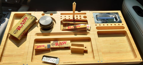 placeholders on a wooden bamboo rolling tray