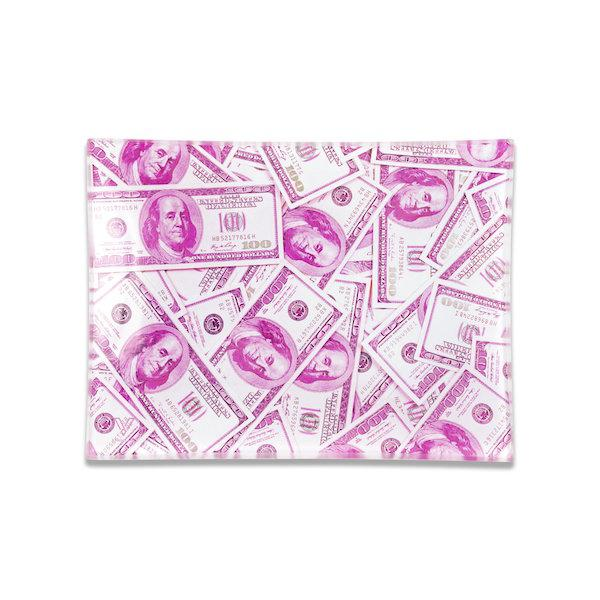 Pink $100 Benjamin Glass Rolling Tray