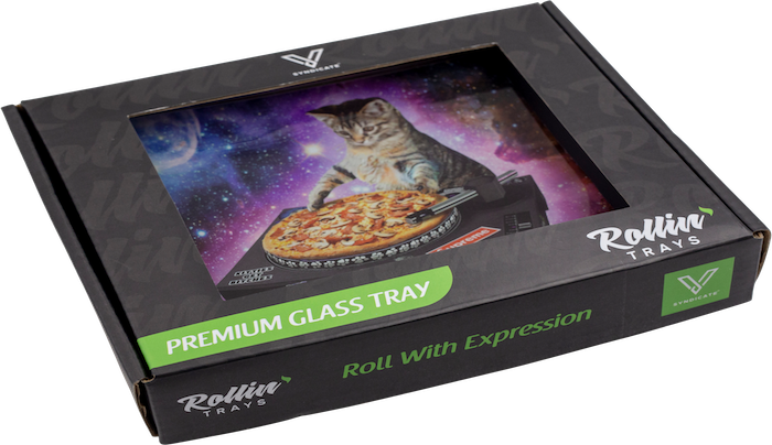 DJ Pussy Cat Pizza Vinyl Glass Rolling Tray