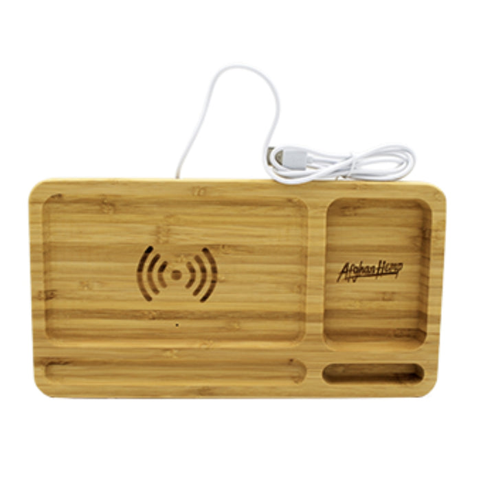Afghan Hemp Wireless Charging Wooden Rolling Tray