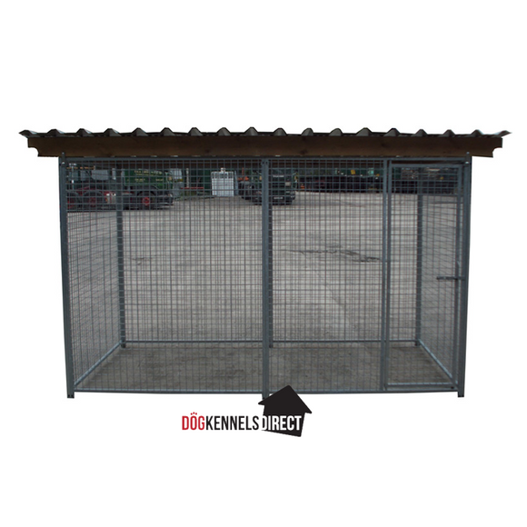 Mesh Modular Dog Kennel - 4m x 2m x 6ft - With Roof