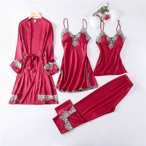 Pajamas Sets Faux Silk Pajamas Sleepwear Sets