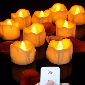 LED Flameless Candles w/ Remote - 12 Pack