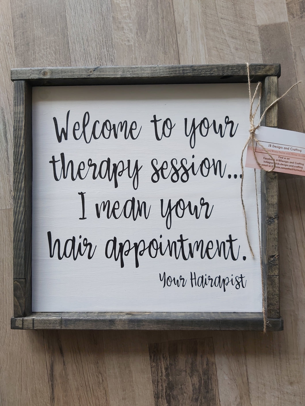 Wooden Sign - Welcome To Your Therapy Session
