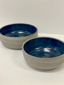 Grey Ceramic Dishes with Blue Interior