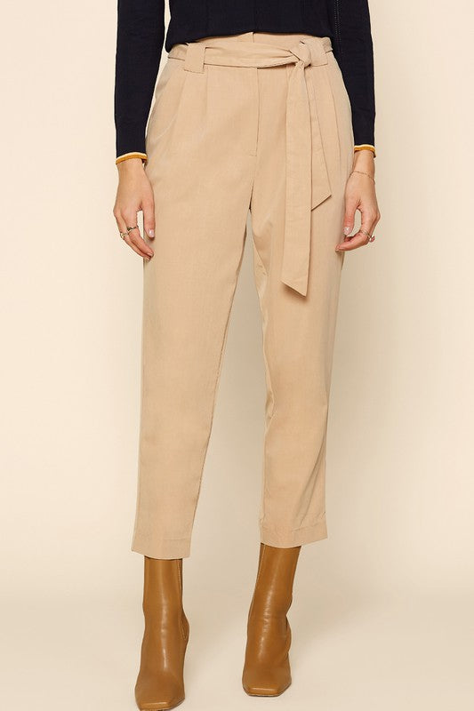 On the Go Tie Waist Camel Pants