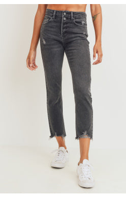 Black Wash Button Fly Jeans