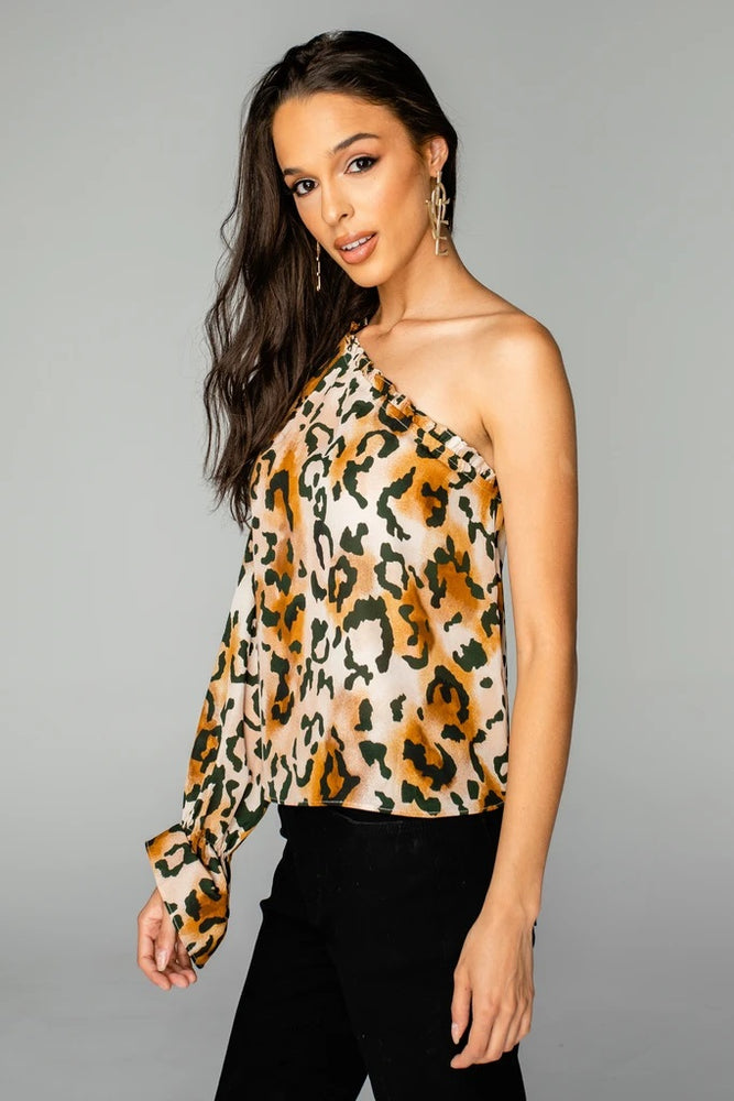 SIRI ONE SHOULDER TOP - LIONESS