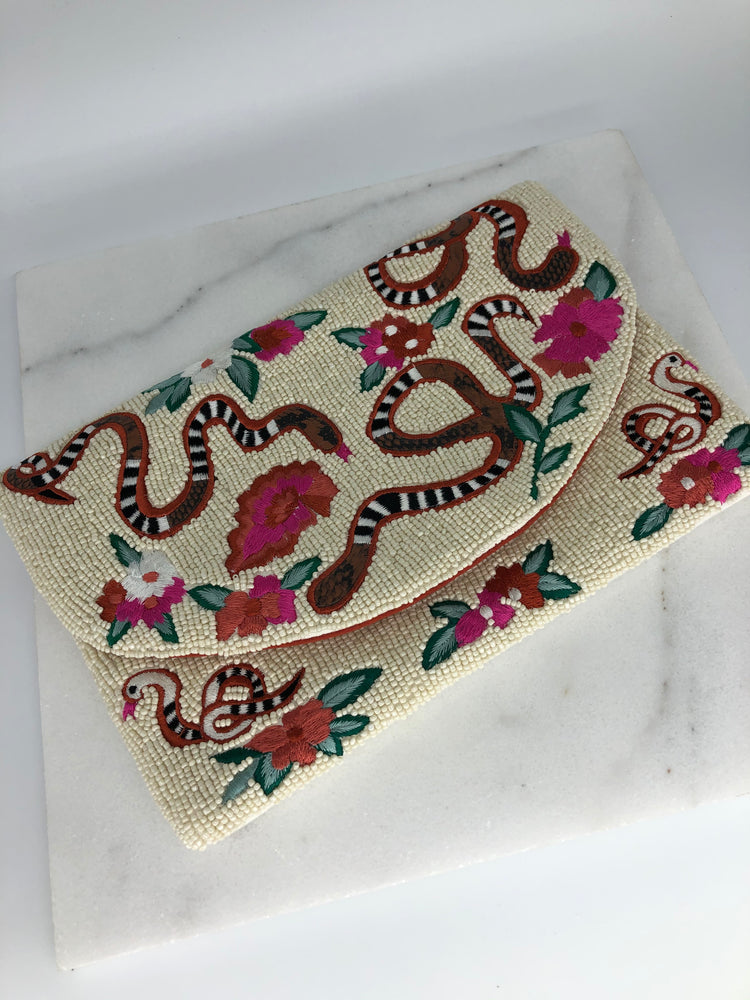 Snake/ Floral Beaded Clutch