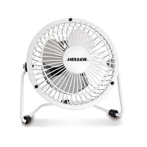 Heller HVF10UWE 10CM High Velocity Mini Metal Fan White With USB