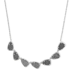 Kendra Scott | Susana Silver Collar Multi Stone Necklace in Platinum Drusy