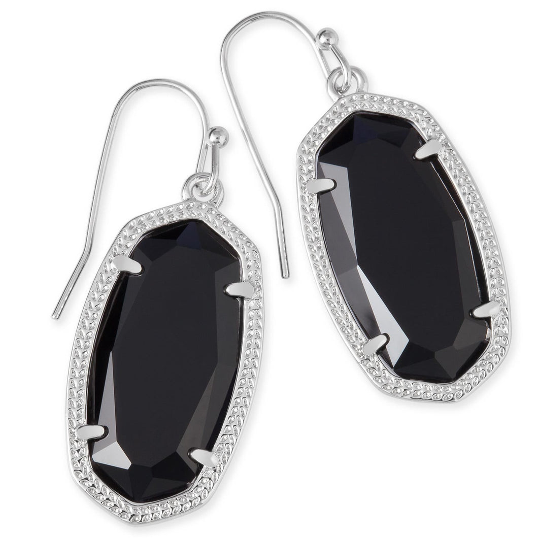 Kendra Scott | Silver Rhodium Dani Black Drop Earrings