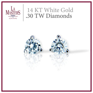 14 KT White Gold Martini Stud Earrings W/ Round .30 TW Diamonds H-J SI2 And Push On Backs