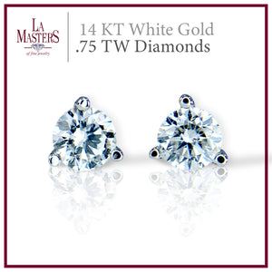 14 KT White Gold Martini Stud Earrings W/ Round .75 TW Diamonds H-J SI2 And Push On Backs