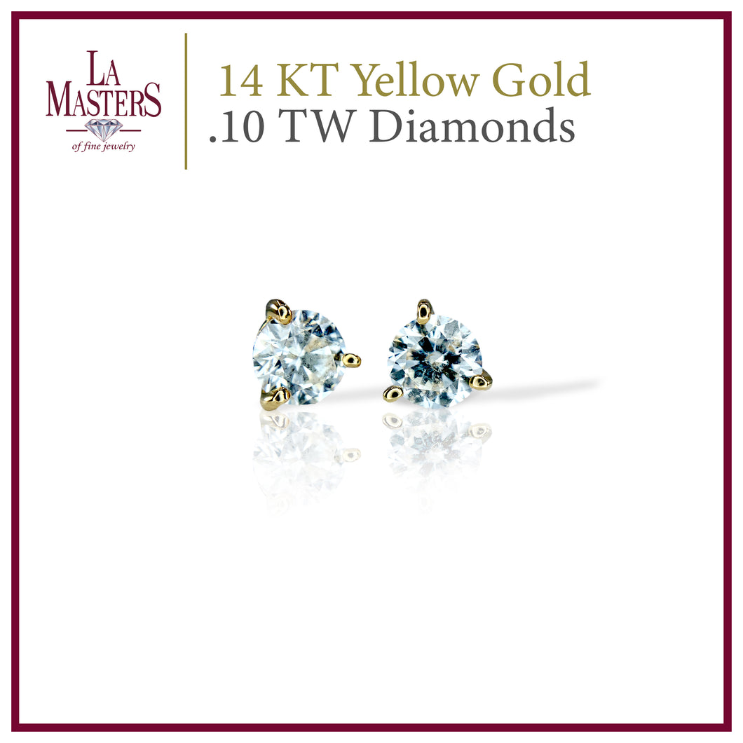 14 KT Yellow Gold Martini Stud Earrings W/ Round .10 TW Diamonds H-J SI2 And Push On Backs